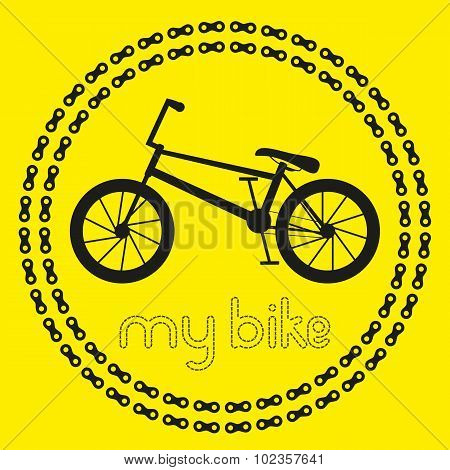 My BMX bike icon (logo or label). Isolated Black Silhouette of bicycle in chain circles. Vector Illu