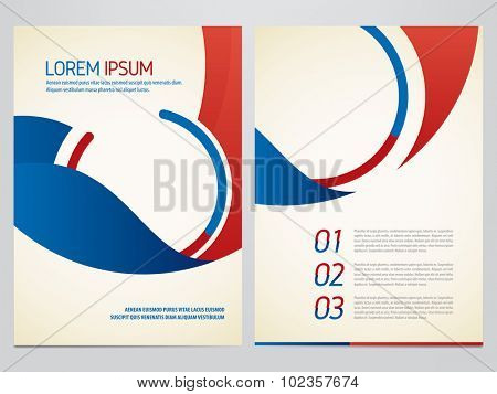 Brochure, annual report, flyer, magazine vector template. Modern blue and red corporate design.