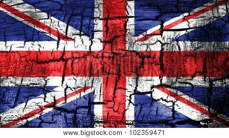 Flag of United Kingdom, Great Britain, British Flag painted on cracked ground.