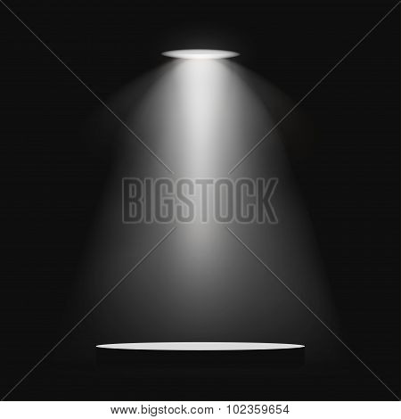 Lantern illuminates round scene black background