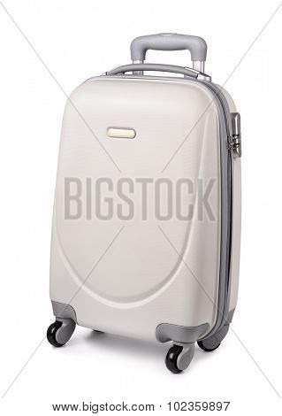 White plastic suitcase isolated on white