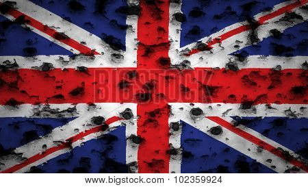 Flag of United Kingdom, Great Britain, British Flag painted on wall with bullet holes.