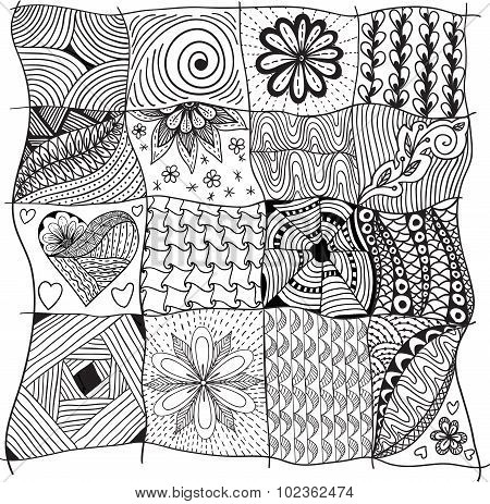 Collection Of  Geometric Floral Doodle Pattern With Flowers, Leaves, Hearts.