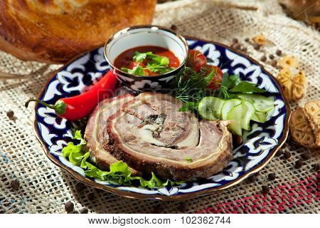 Meat Roll with Vegetables and Spicy Sauce