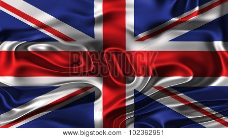 Flag of United Kingdom, Great Britain, British Flag painted on silk material.
