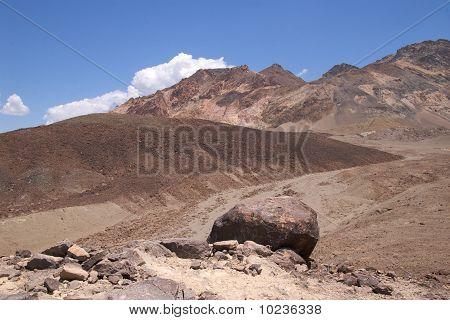 Boulder in lunar landscape, Death Valley