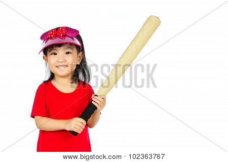 Chinese Little Girl Holding Baseball Bat