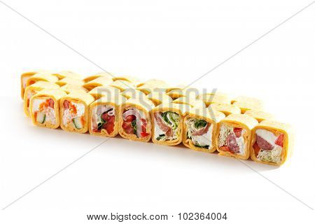 Burrito Maki Sushi Set over White Background
