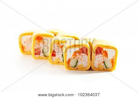 Burrito Maki Sushi - Roll made of Crab Mix, Cream Cheese, Cucumber and Tomato inside. Mexican Pancake outside