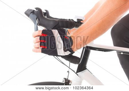 Hand pressing bicycle brake lever