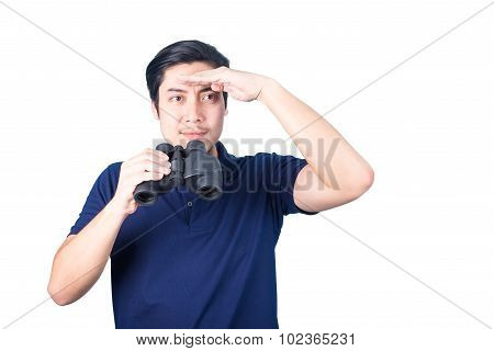 Asian Guy Holding Binoculars, Isolated On A White Background.