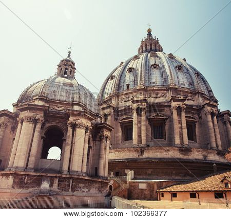 Cathedral of St Peters. Dome. St. Peter's Basilica, Vaticano, Italy, Rome