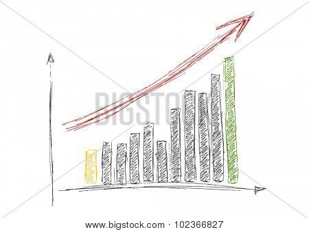 Growing graph hand drawing with arrow isolated on white. Vector design
