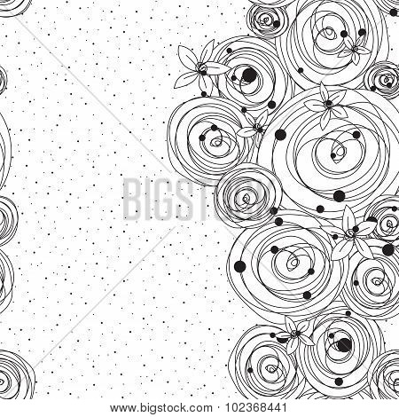 Intricate black and white pattern with flowers and splashes of glomeruli