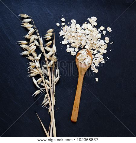 Rolled Oats And Oat Ears Of Grain