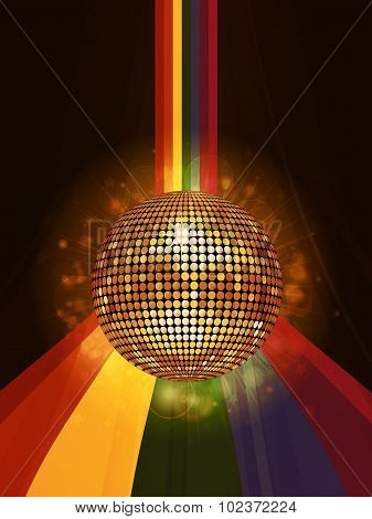 Glowing Disco Ball Over Rainbow Portrait Background