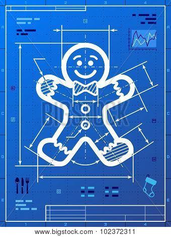 Gingerbread Man Symbol As Blueprint Drawing