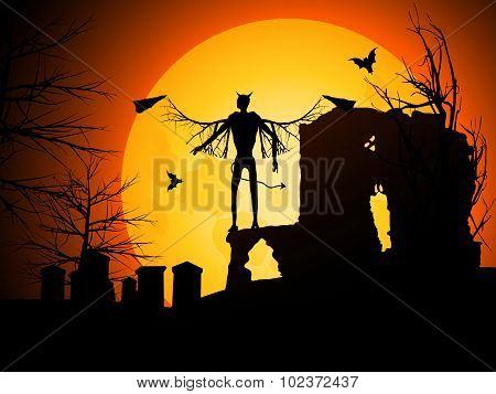 Halloween Background With Devil