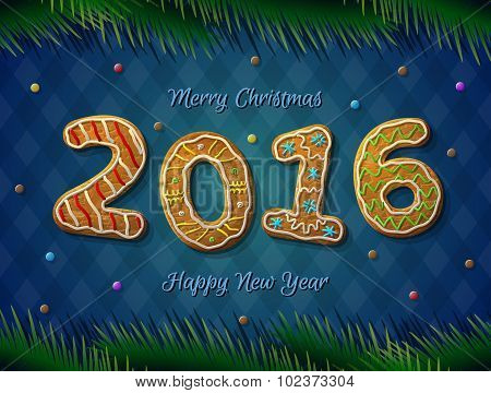 Card Of New Year 2016 In Shape Of Gingerbread