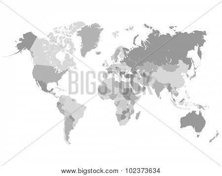 Grayscale World Map Illustration