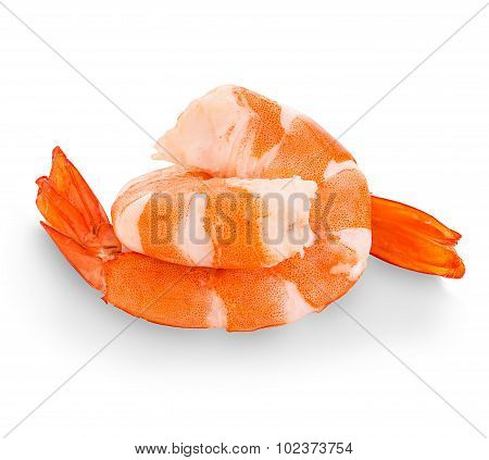 Tiger Shrimps. Prawns Isolated On A White Background. Seafood