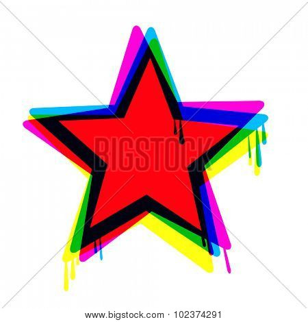 Red star icon with smudges and multicolor layer effect