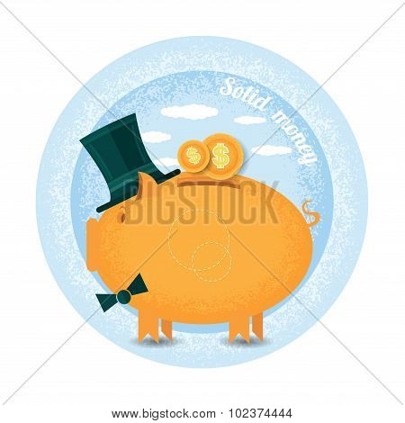 stolen money.Three piggy bank with cylinder hat stand with coin.Vintage retro style shadow income ic