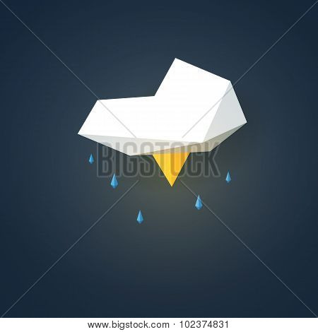 Low poly weather icon. Forecast symbol in modern 3d design. Storm with lightning sign.