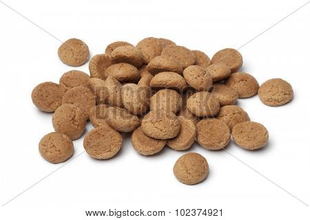 Heap of kruidnoten on white background