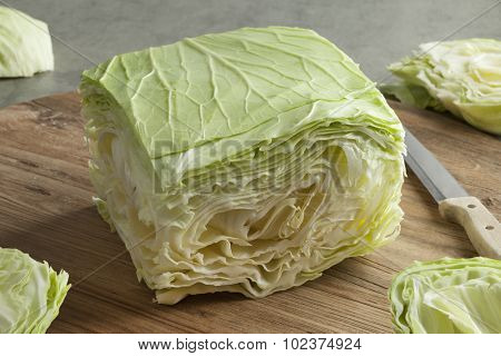 Sliced square coolwrap cabbage leaves