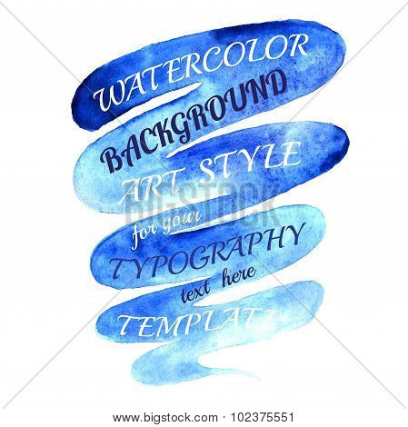 brushstroke blue banner top down template for our text
