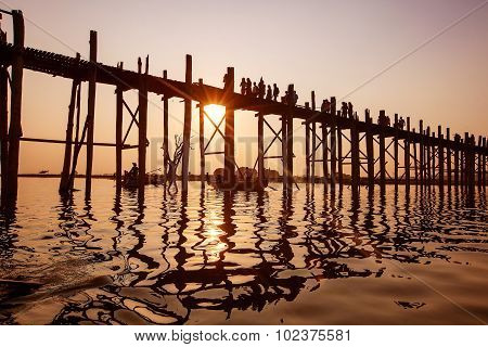 Ubein Bridge at sunrise Mandalay Myanmar