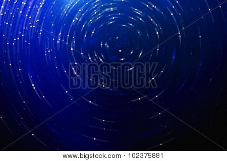 Blue Abstract Science Fiction Futuristic Background, Blurred Stars In Space