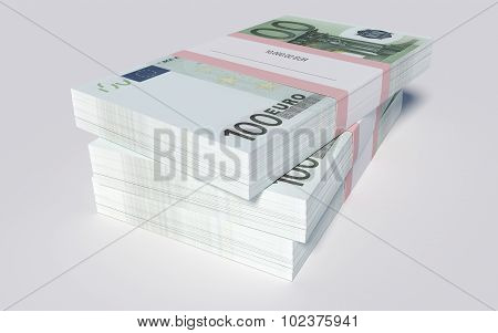 Three packets of 100 Euro bills