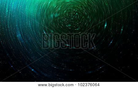Green Abstract Science Fiction Futuristic Background, Blurred Stars In Space
