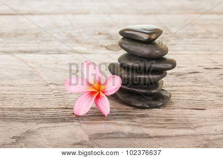 Plumeria Flower And Black Stones