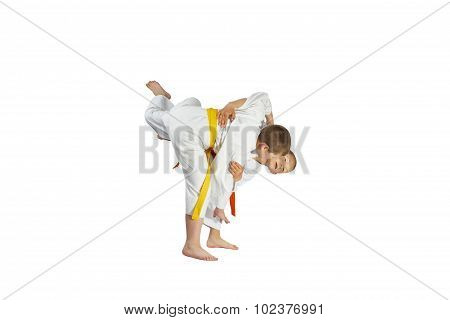 Young athletes are training Judo Throws