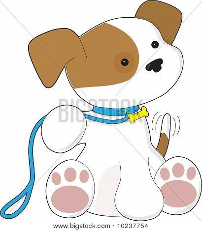 Cute Puppy and Leash