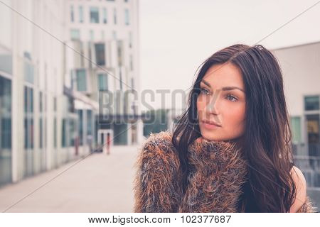 Beautiful Girl Posing In An Urban Context