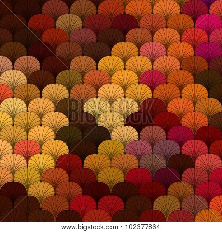 Autumn forest scaly texture in different shades of red