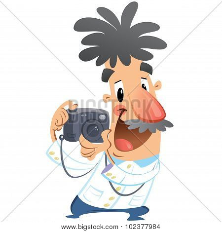 Cartoon Crazy Photographer Character Click On Dslr Camera Taking Picture