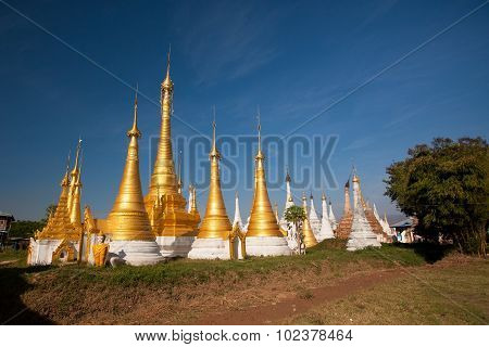 Shwe Inn Thein pagoda at Indein village Inle Lake Myanmar