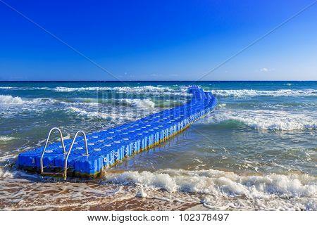 Floating pier on the Ionian sea of Zakynthos island, Greece