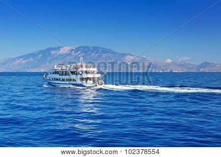 Ionian sea ship cruise at Zakynthos island, Greece