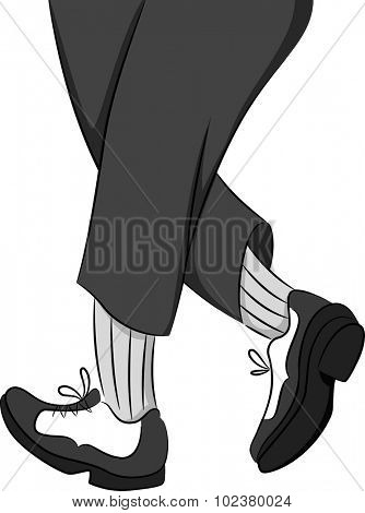Illustration of a Tap Dancer Standing on Tiptoe