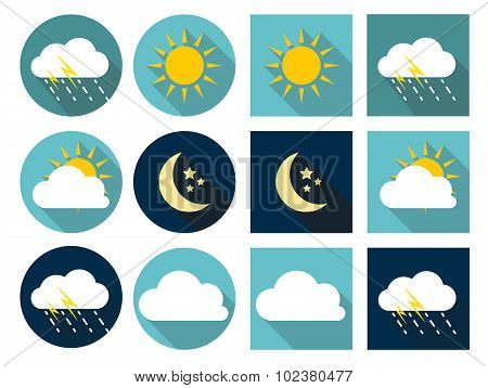 Weather Icons with Sun, Cloud, Rain and Moon in Flat Style with