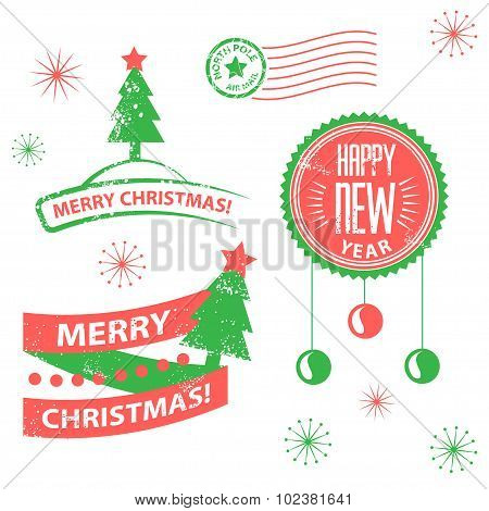 Set of labels and elements for Christmas and New Year.
