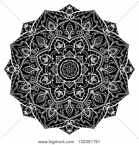 Silhouette Of Black Mandala.