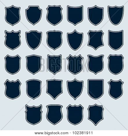 Set of heraldic icons shields silhouettes