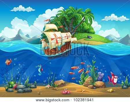 Cartoon Underwater World With Fish, Plants, Island And Caravel